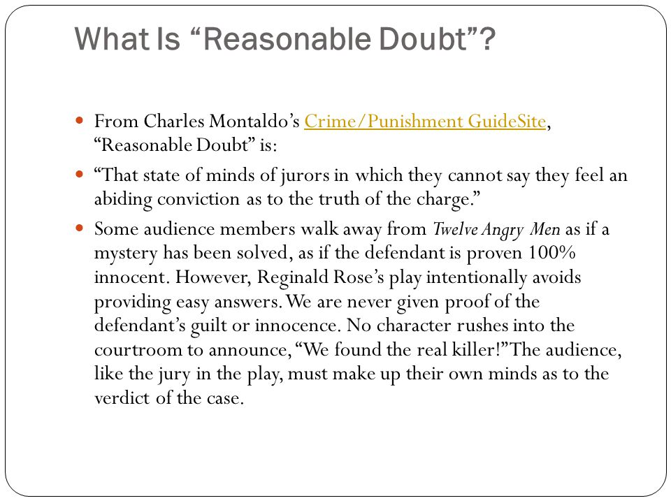 What Is Reasonable Doubt