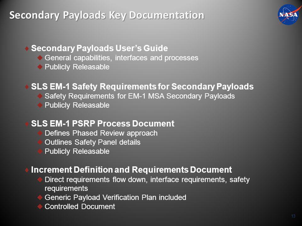 Secondary Payloads Key Documentation
