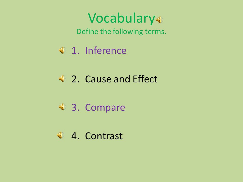 Vocabulary Define the following terms.