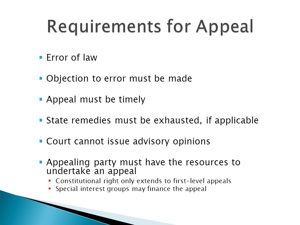 Requirements for Appeal