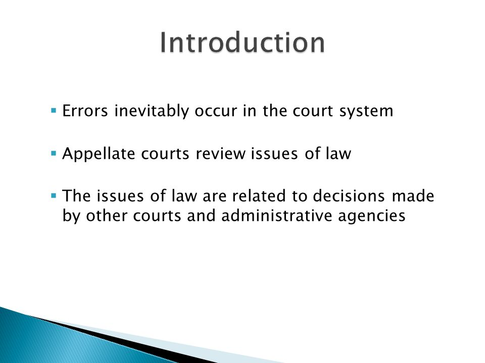 Introduction Errors inevitably occur in the court system