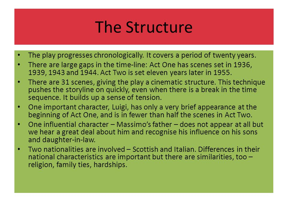 The Structure The play progresses chronologically. It covers a period of twenty years.