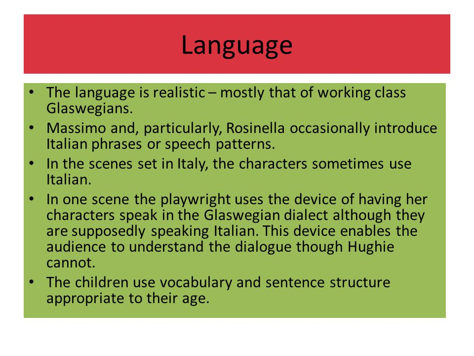 Language The language is realistic – mostly that of working class Glaswegians.