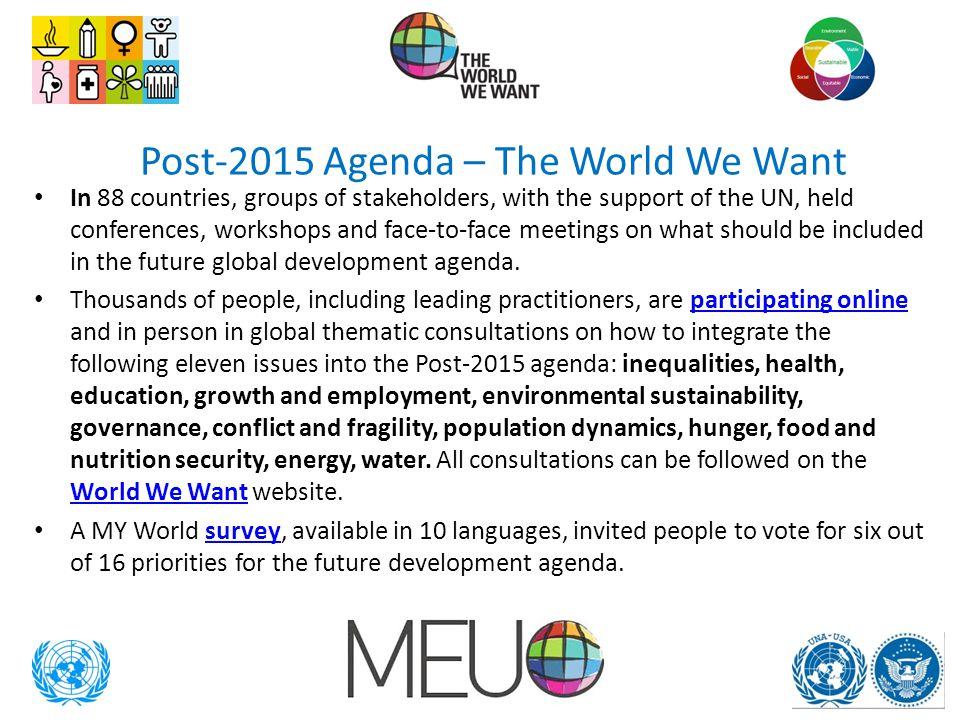 Post-2015 Agenda – The World We Want