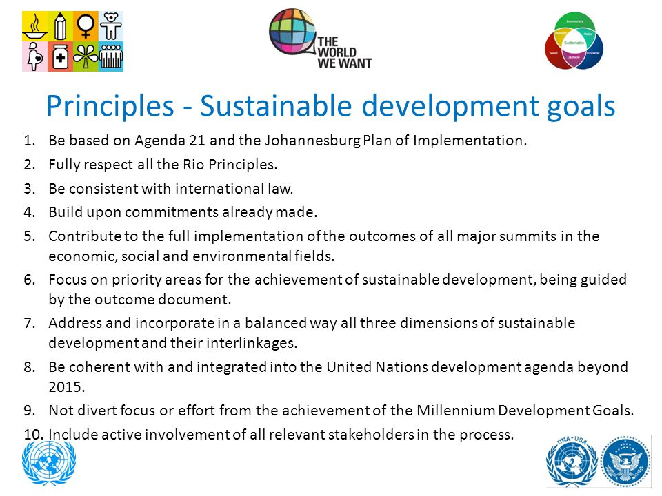 Principles - Sustainable development goals