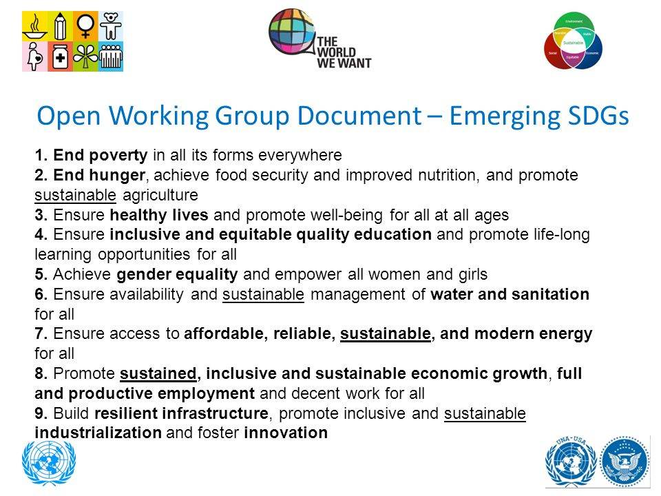 Open Working Group Document – Emerging SDGs