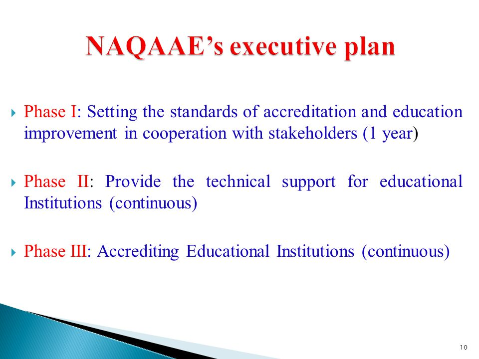 NAQAAE's executive plan