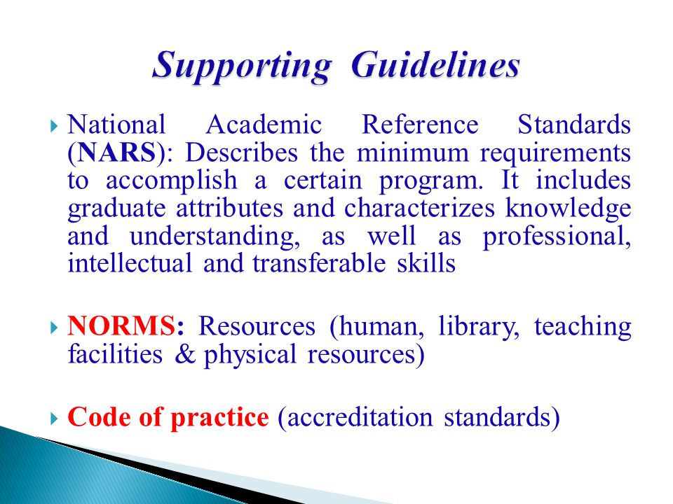 Supporting Guidelines