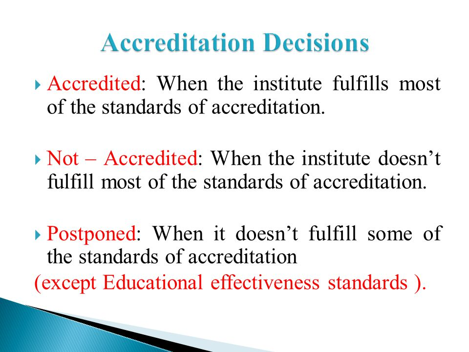 Accreditation Decisions