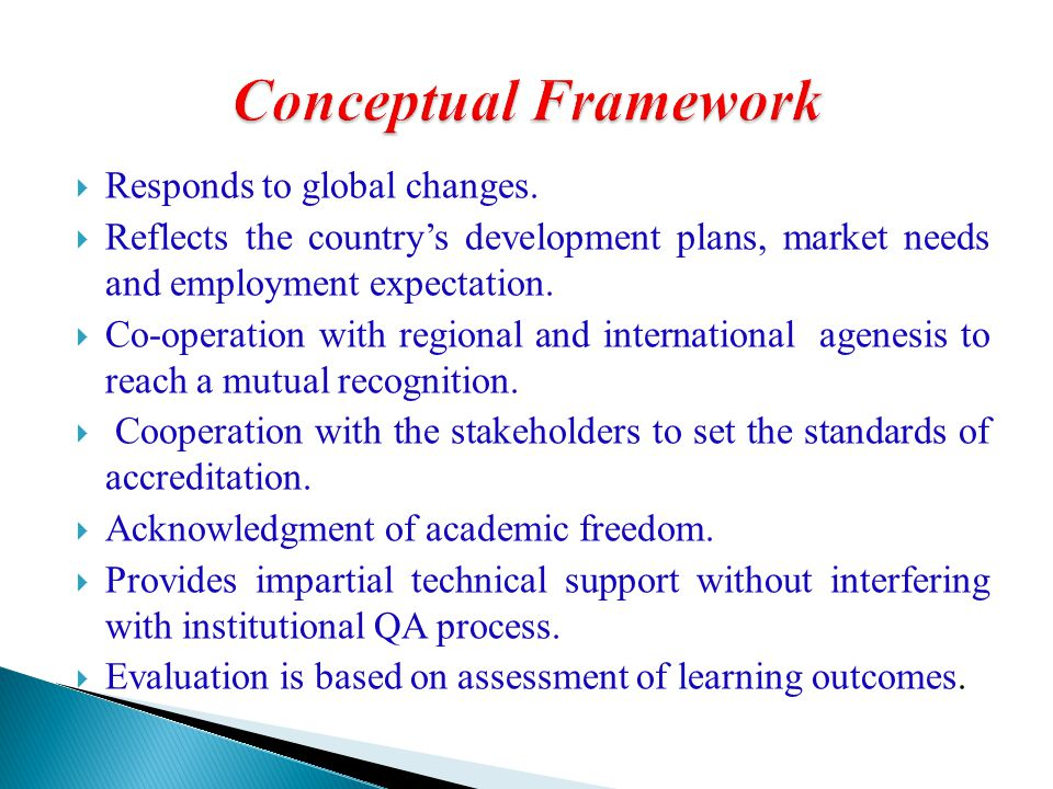 Conceptual Framework Responds to global changes.