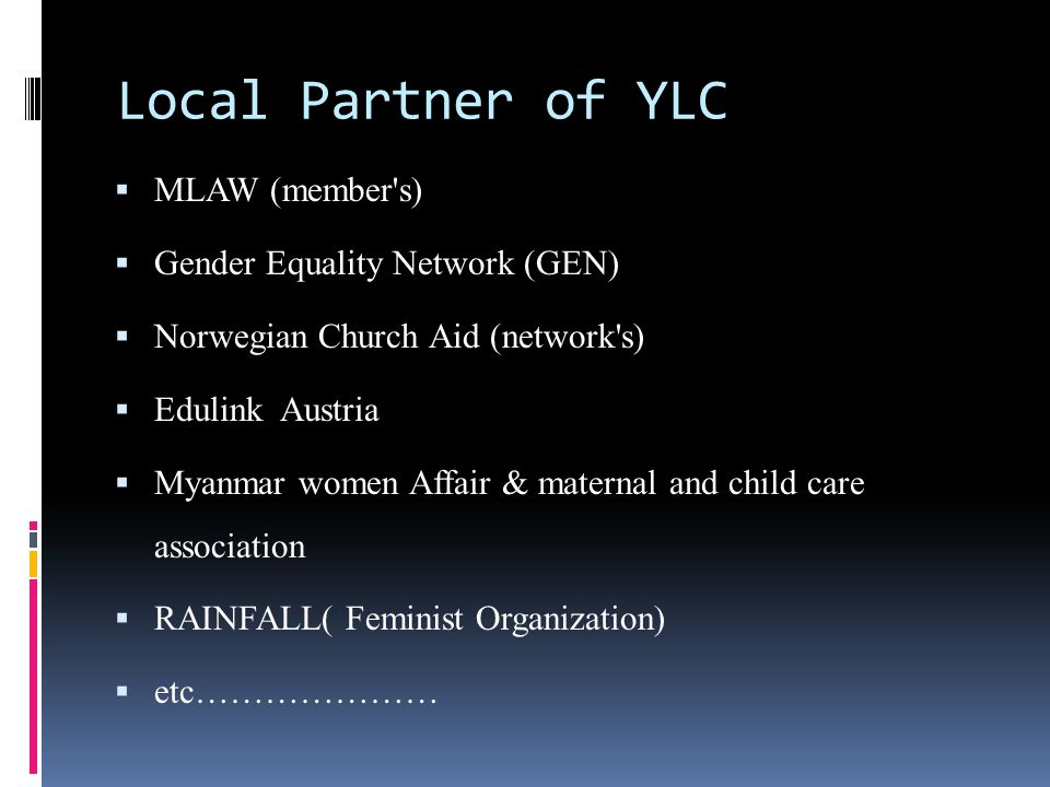 Local Partner of YLC MLAW (member s) Gender Equality Network (GEN)