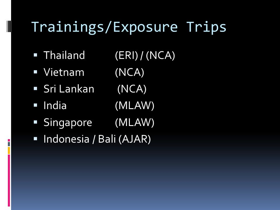 Trainings/Exposure Trips
