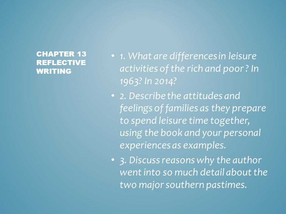 Chapter 13 reflective writing