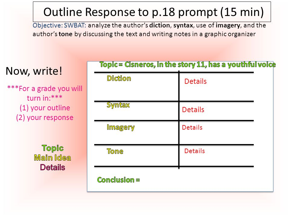 Outline Response to p.18 prompt (15 min)