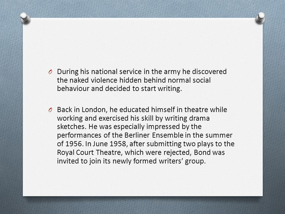 During his national service in the army he discovered the naked violence hidden behind normal social behaviour and decided to start writing.
