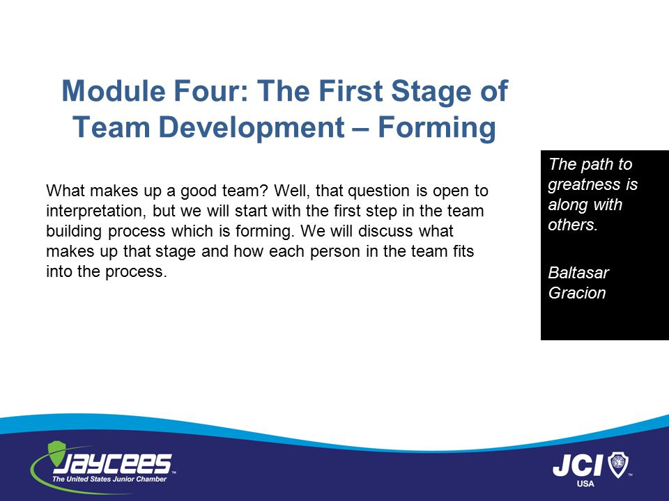 Module Four: The First Stage of Team Development – Forming