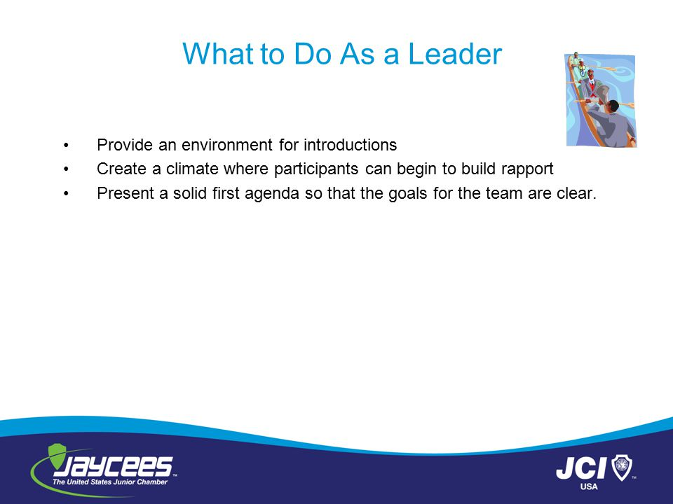 What to Do As a Leader Provide an environment for introductions