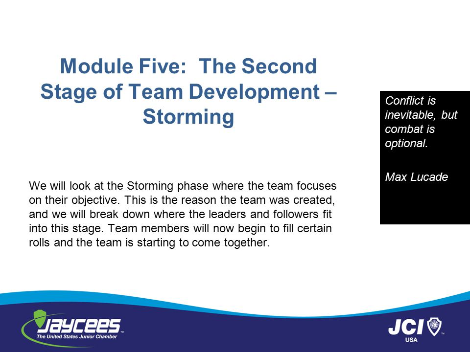 Module Five: The Second Stage of Team Development – Storming