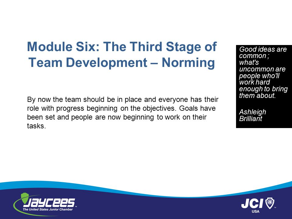 Module Six: The Third Stage of Team Development – Norming