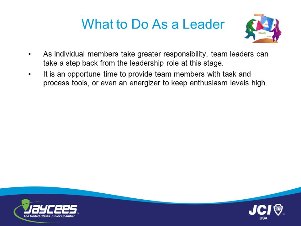 What to Do As a Leader As individual members take greater responsibility, team leaders can take a step back from the leadership role at this stage.