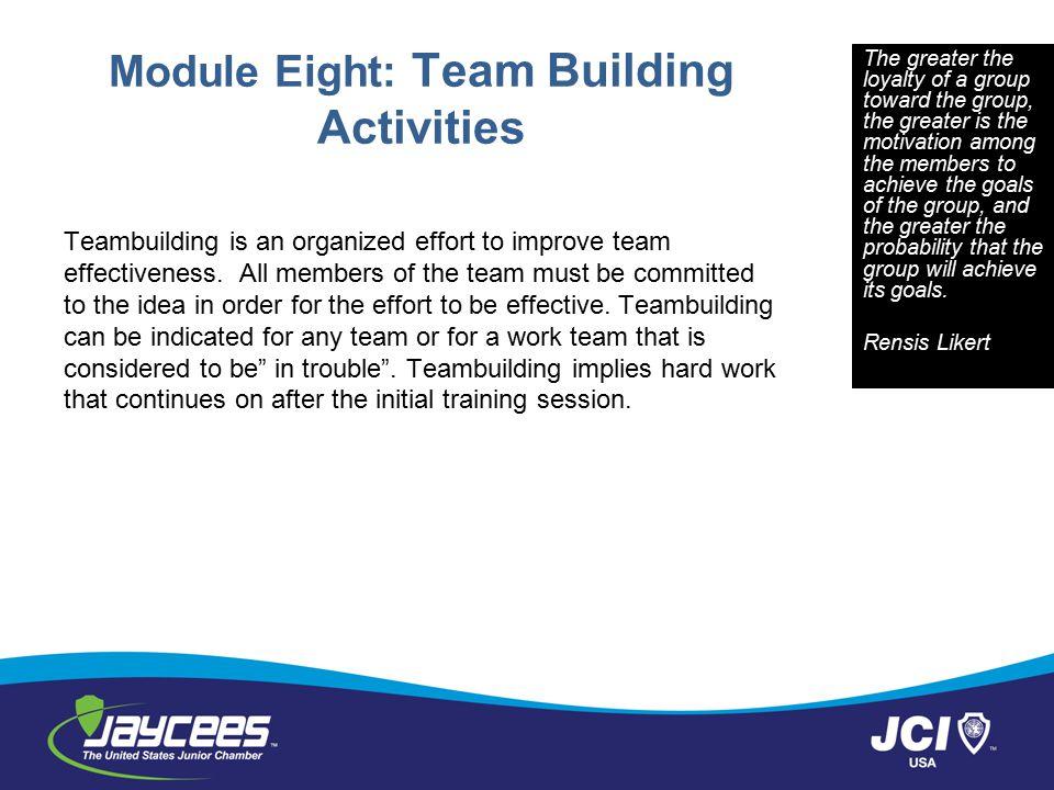 Module Eight: Team Building Activities