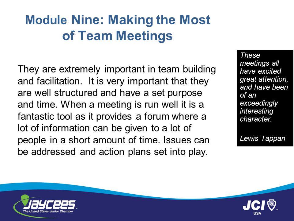 Module Nine: Making the Most of Team Meetings