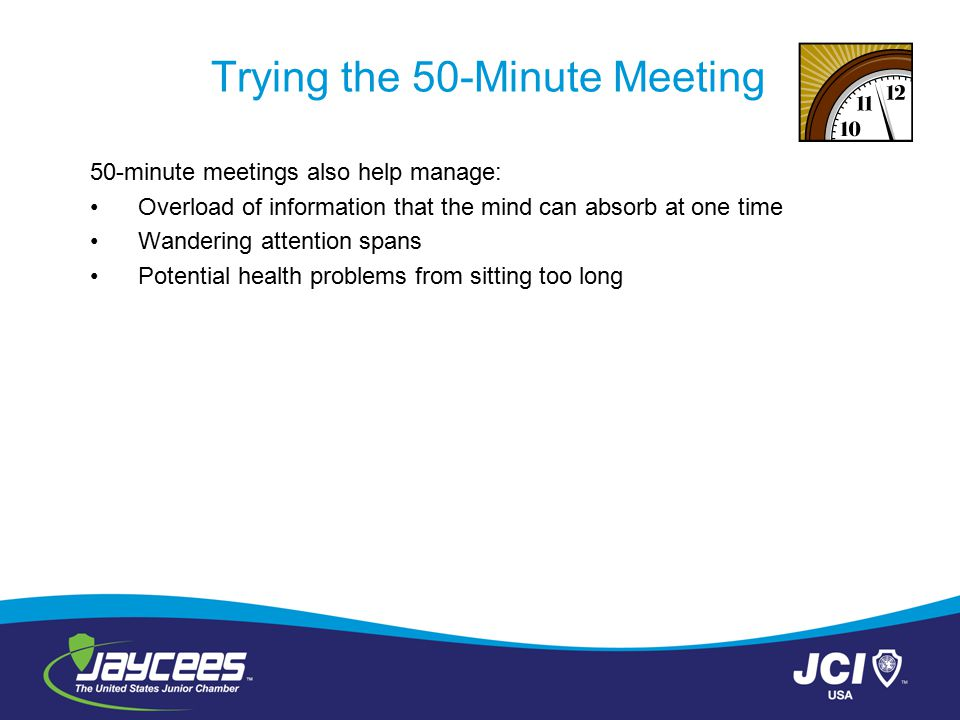 Trying the 50-Minute Meeting