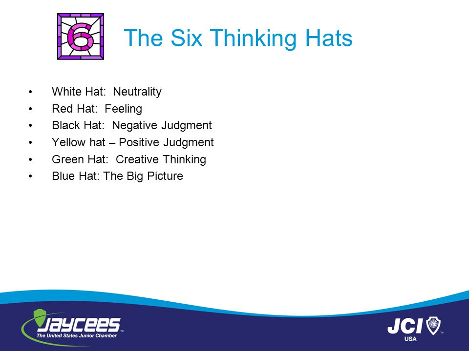 The Six Thinking Hats White Hat: Neutrality Red Hat: Feeling