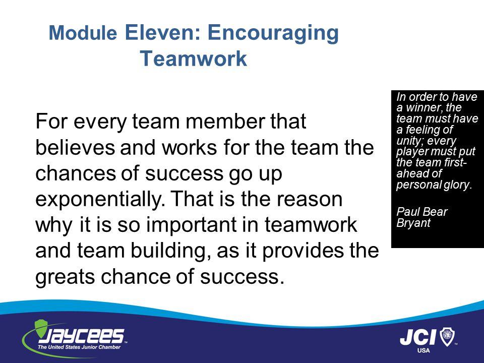Module Eleven: Encouraging Teamwork