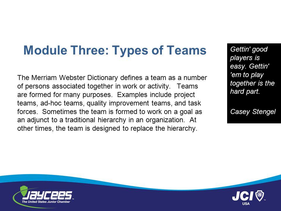 Module Three: Types of Teams
