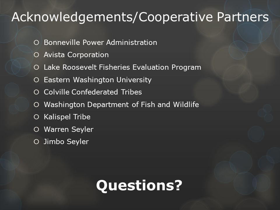 Acknowledgements/Cooperative Partners