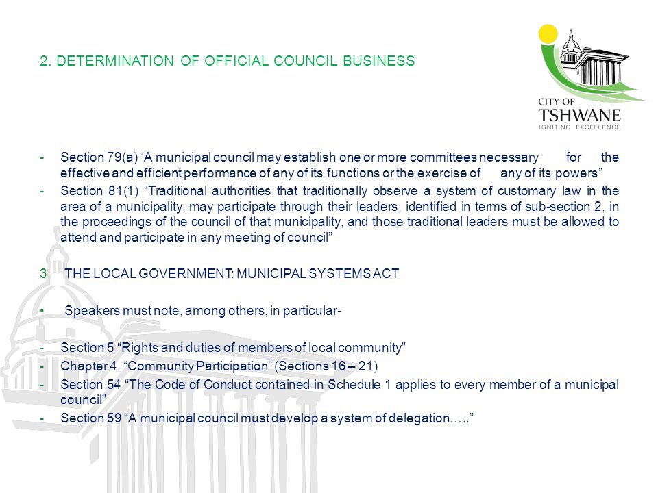 2. DETERMINATION OF OFFICIAL COUNCIL BUSINESS