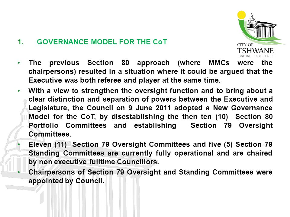 GOVERNANCE MODEL FOR THE CoT