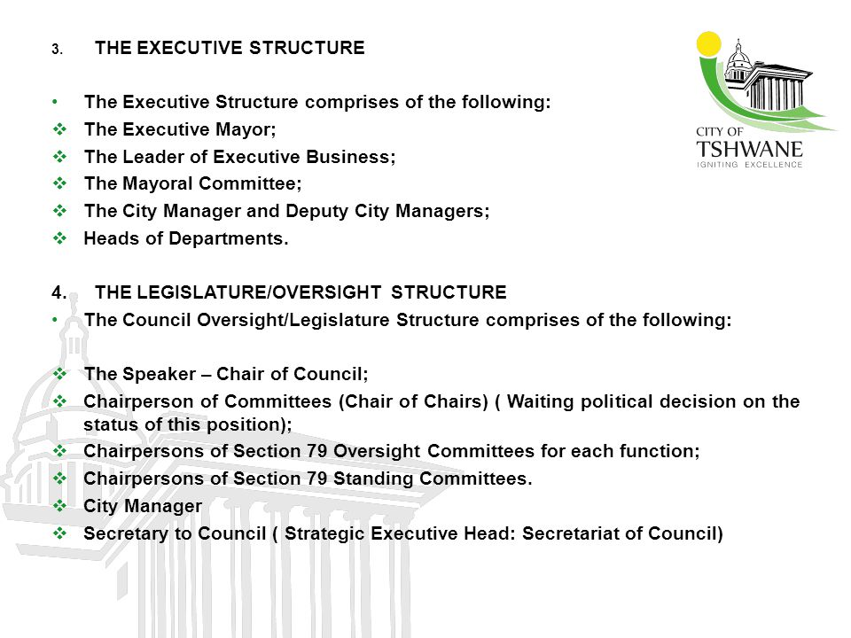 The Executive Structure comprises of the following: