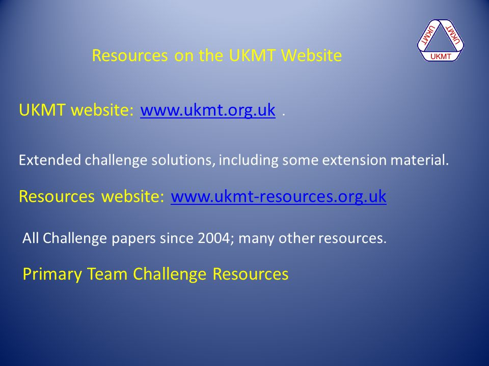 Resources on the UKMT Website