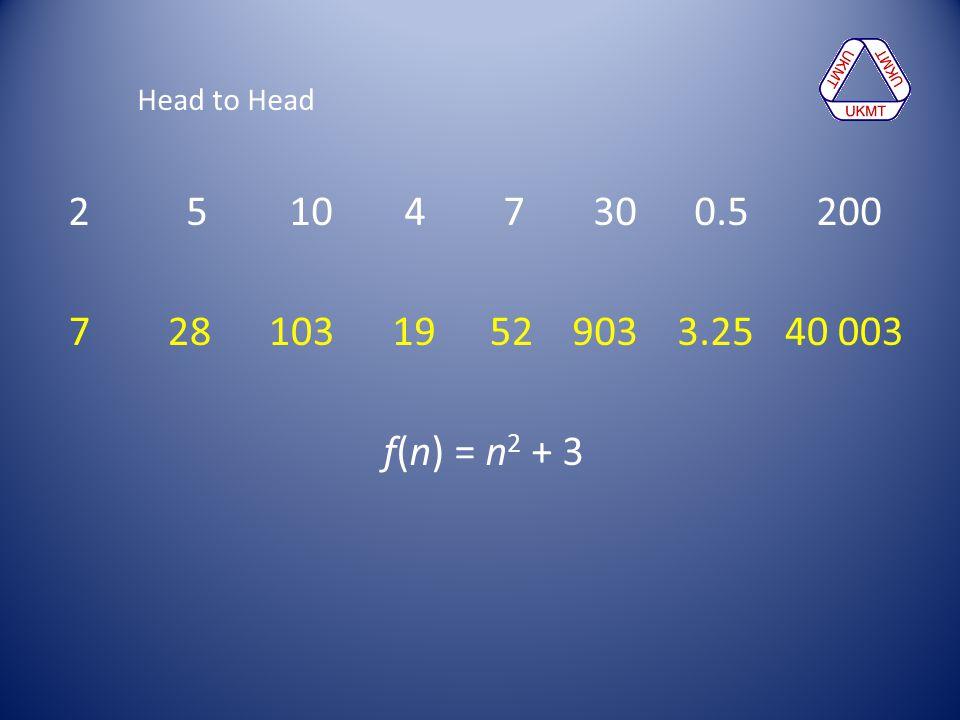 Head to Head 2 5 10 4 7 30 0.5 200. 7 28 103.