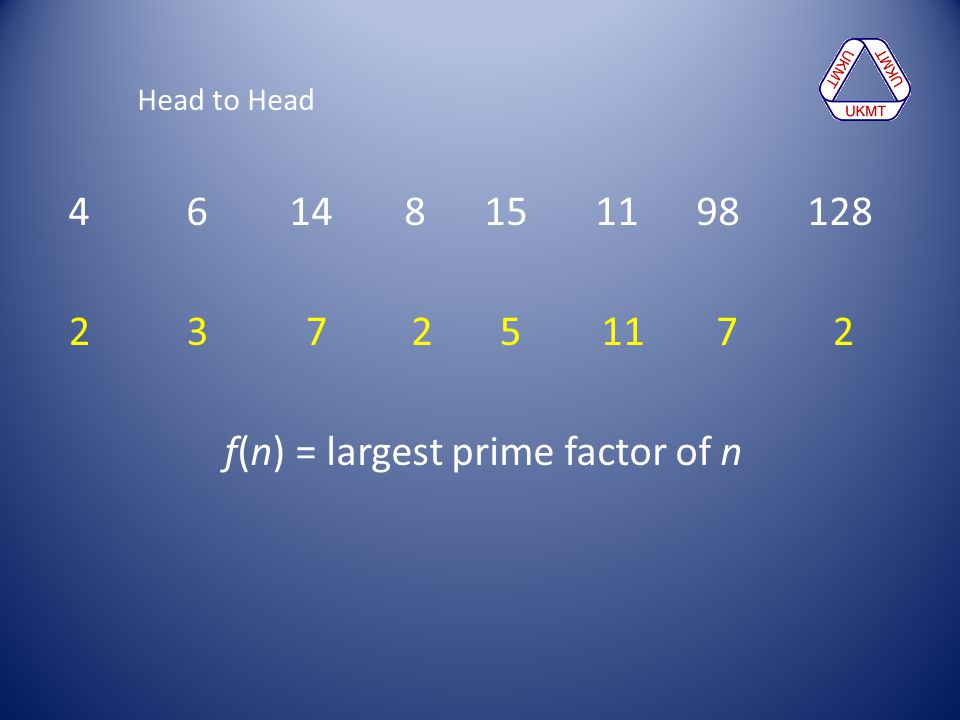 f(n) = largest prime factor of n