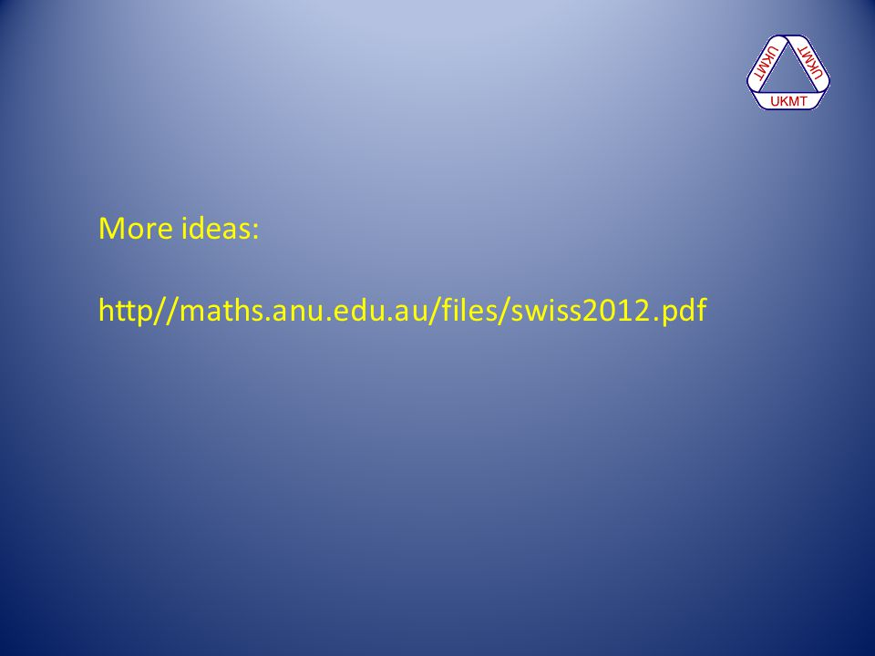 More ideas: http//maths.anu.edu.au/files/swiss2012.pdf