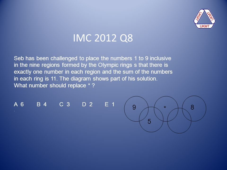 IMC 2012 Q8 Seb has been challenged to place the numbers 1 to 9 inclusive. in the nine regions formed by the Olympic rings s that there is.