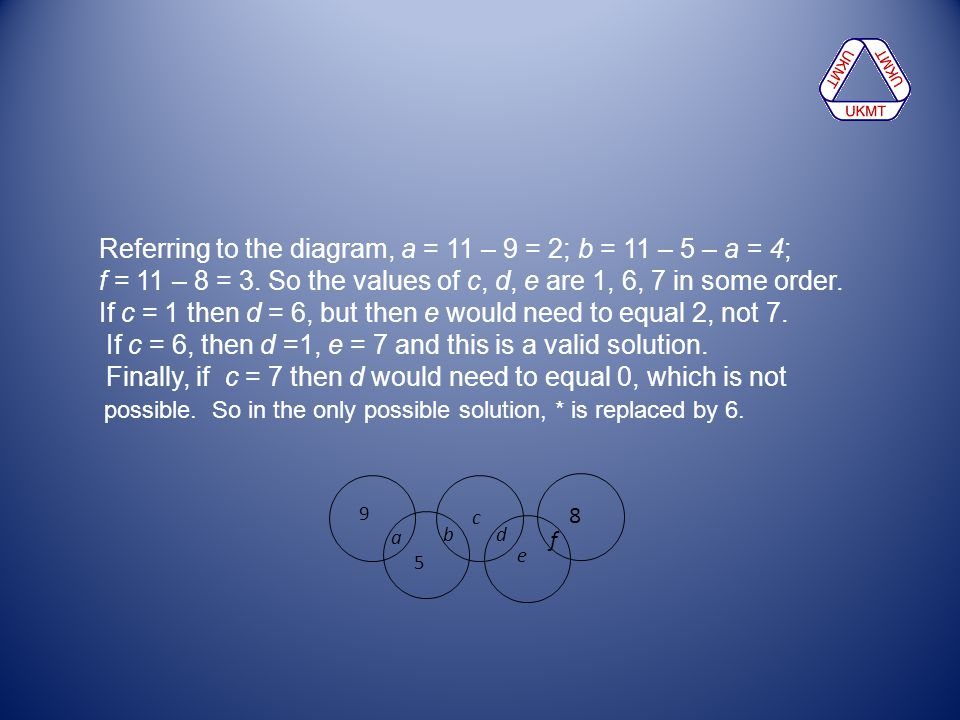 Referring to the diagram, a = 11 – 9 = 2; b = 11 – 5 – a = 4;