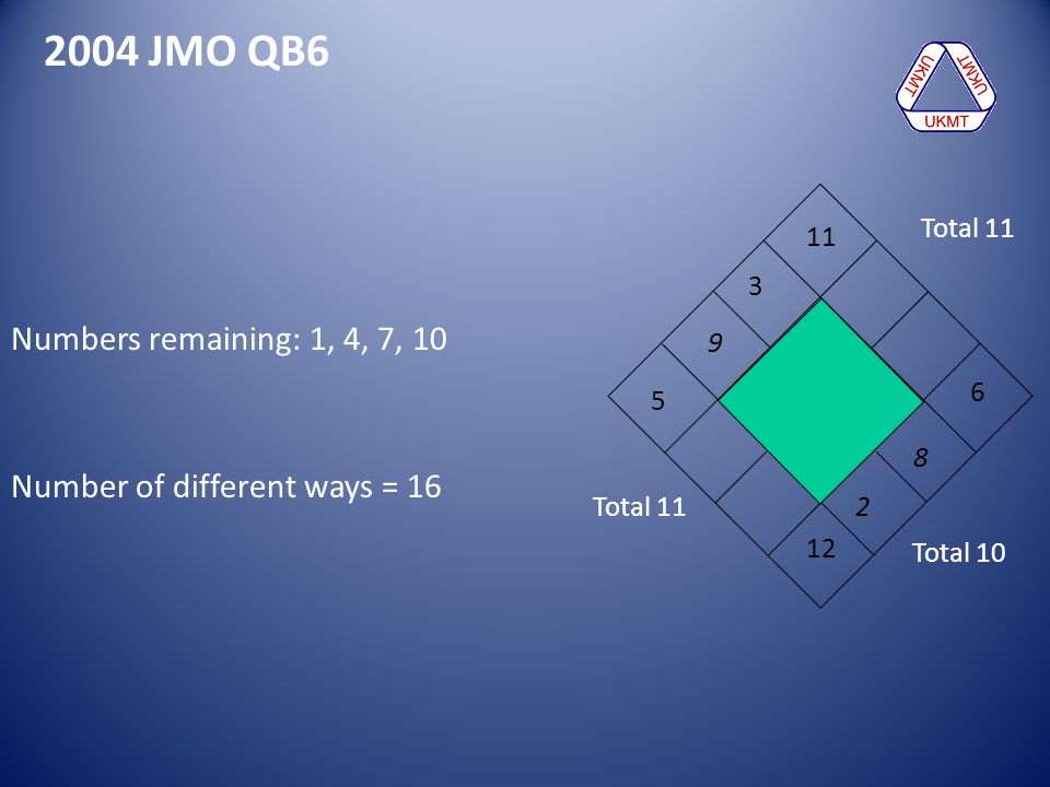 2004 JMO QB6 Numbers remaining: 1, 4, 7, 10