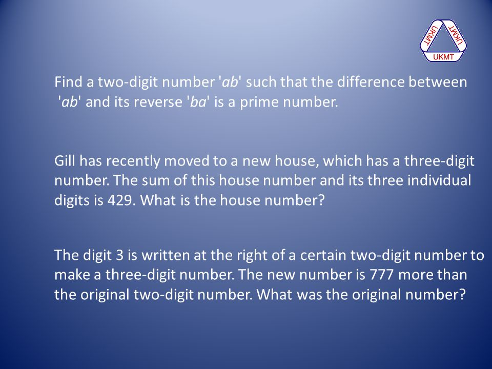Find a two-digit number ab such that the difference between. ab and its reverse ba is a prime number.