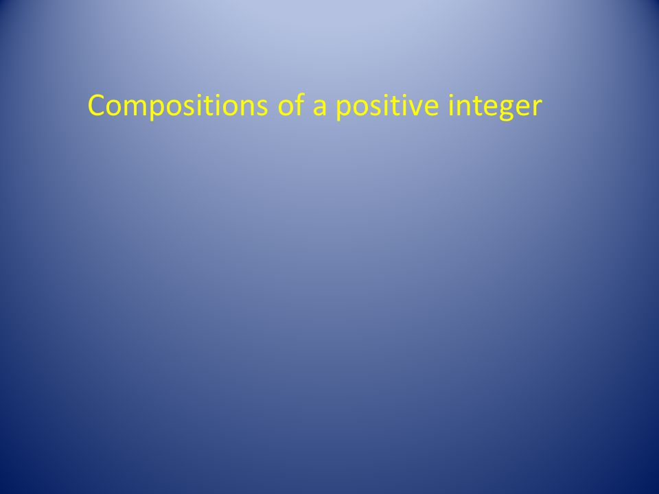 Compositions of a positive integer