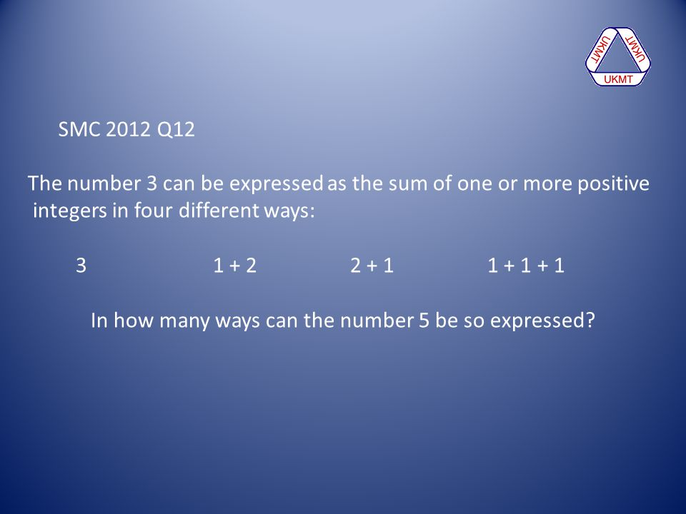 In how many ways can the number 5 be so expressed