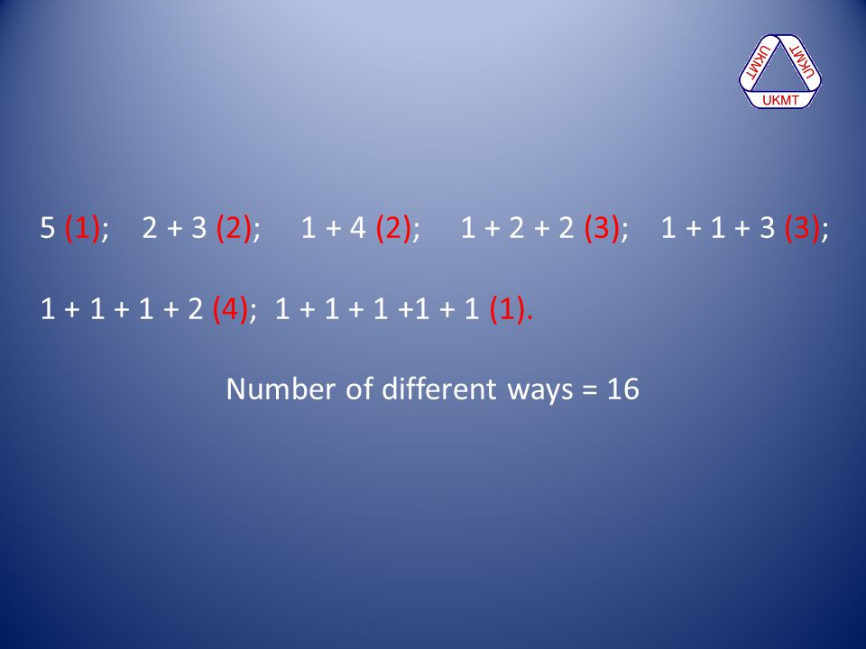 Number of different ways = 16