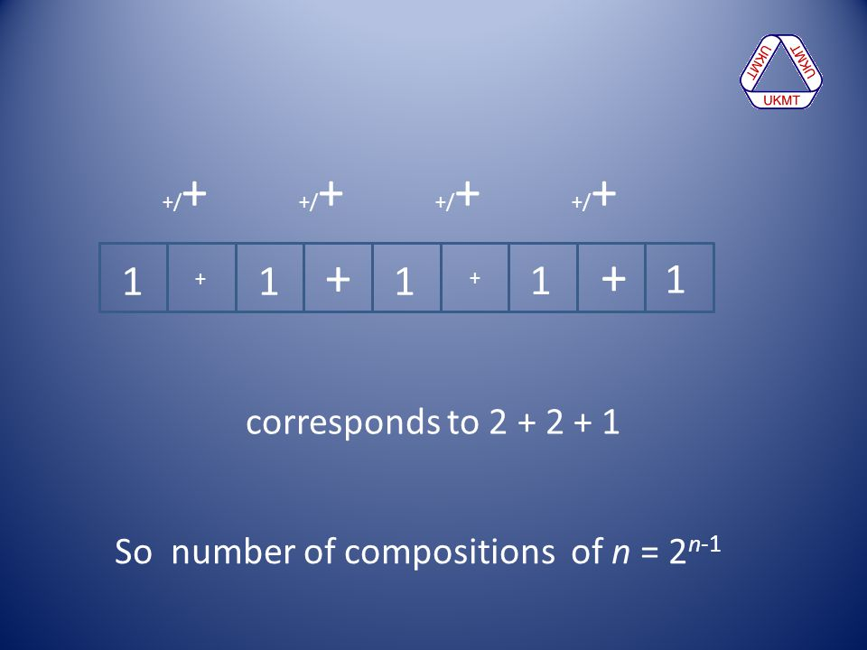 +/+ +/+ +/+ +/+ + + 1 1 1 1 1 + + corresponds to 2 + 2 + 1 So number of compositions of n = 2n-1