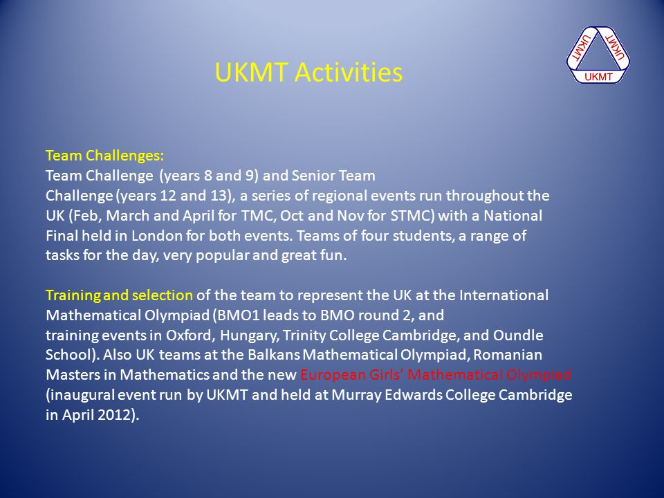 UKMT Activities Team Challenges:
