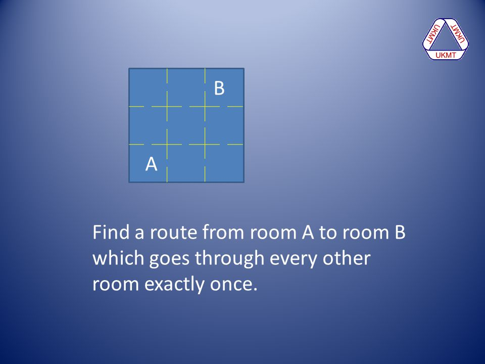 B A Find a route from room A to room B which goes through every other room exactly once.