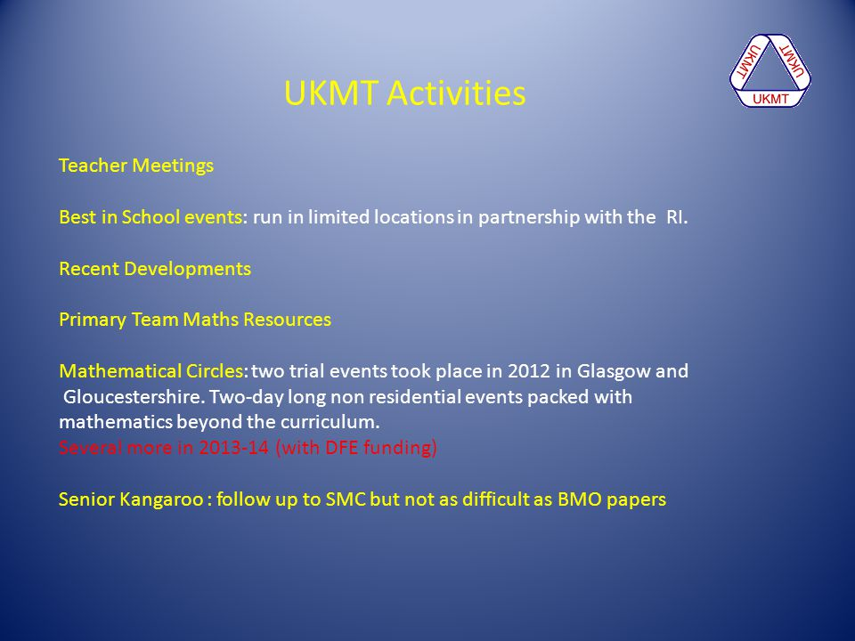 UKMT Activities Teacher Meetings