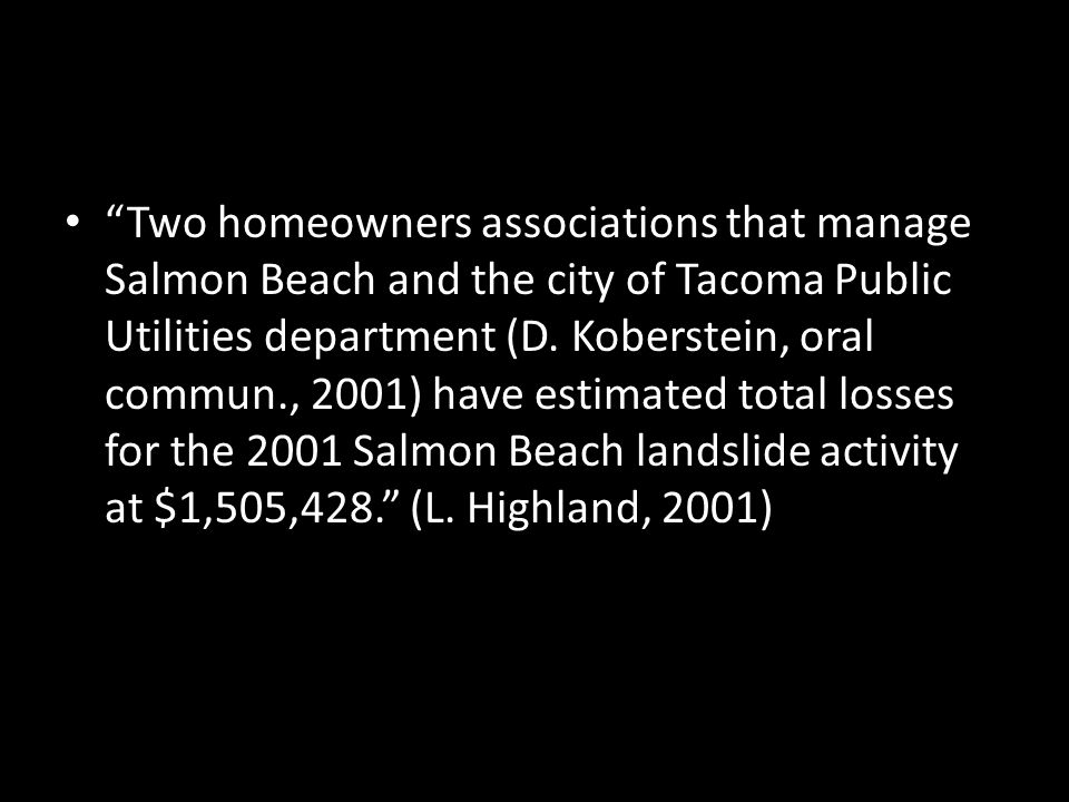 Two homeowners associations that manage Salmon Beach and the city of Tacoma Public Utilities department (D.